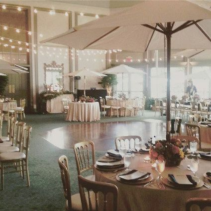 Dance floor and umbrella tables