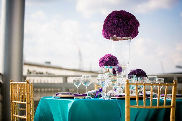 Purple flower centerpiece