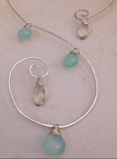 chalcedony green amethyst spiral necklace close u