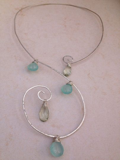 chalcedony green amethyst spiral necklac