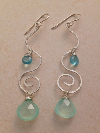 chalcedony apatite wave spiral earring