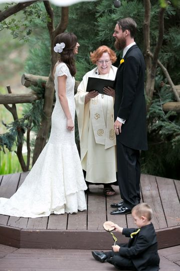 Rev. Judy Miller-Dienst officiating the outdoor wedding in Lake Arrowhead, CA, July 12, 2012.