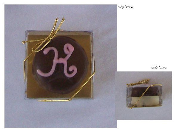 As a wedding favor the recipient choose one milk chocolate dipped sandwich cookie and one white...