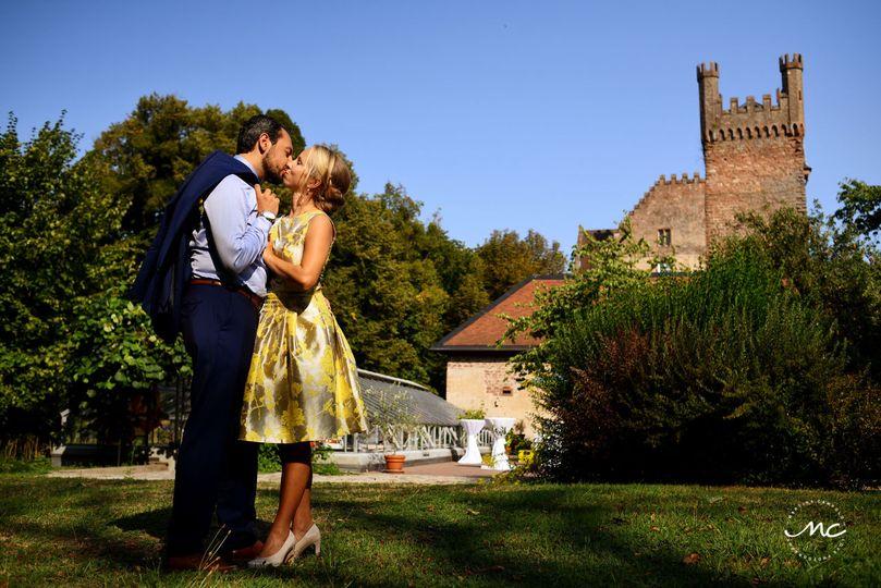 Modern bride with yellow wedding dress. Heidelberg Castle wedding in Germany