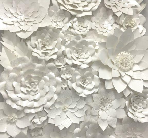 white flowerwall backdrop