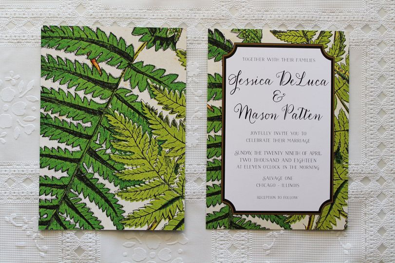 fern invitation front and back