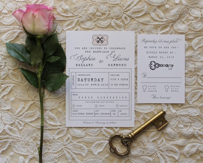 lock and key invite and rsvp
