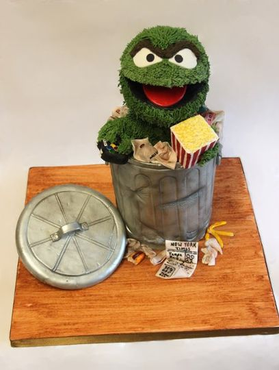 Grouch grooms cake with hand made decorations.