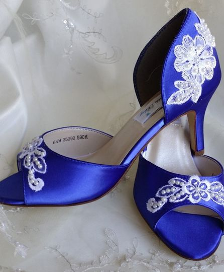blue wedding shoes with lace
