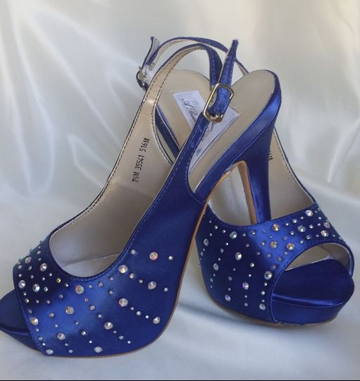 blue slingbacks with crystals
