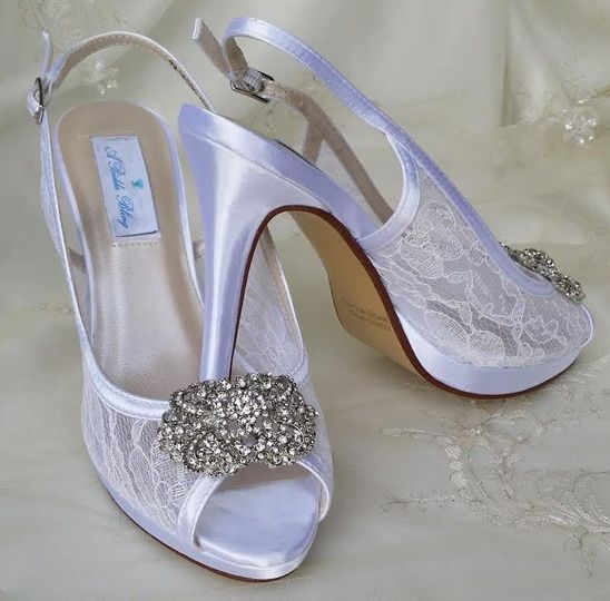 lace slingback wedding shoes with crystal rectangl