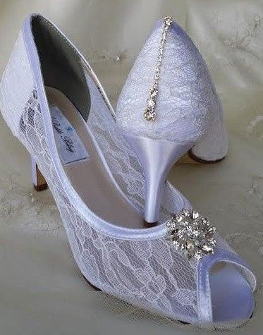 lace wedding shoes with crystal swirl flower and c