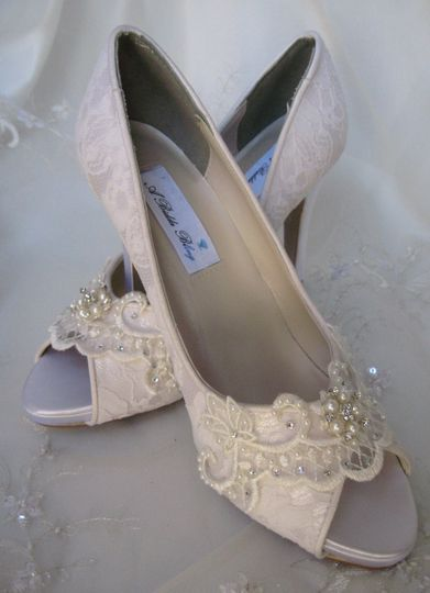 peep toe wedding shoe with lace and pearls