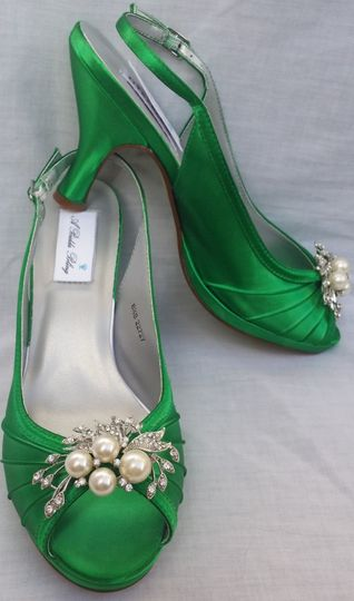 emerald green slingback with cascading crystal and