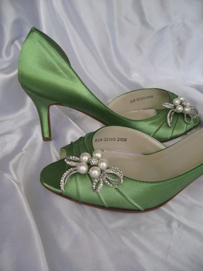 green wedding shoes with pearl and crystal bow