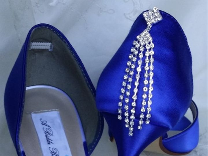 Tmx 1452306674335 Blue Wedding Shoes With Oval Crystal Brooch And Ca Palm Harbor wedding dress