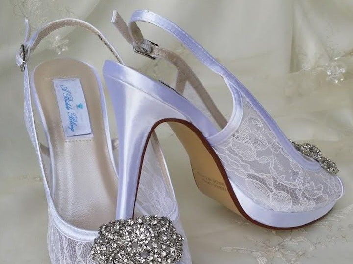Tmx 1452306778228 Lace Slingback Wedding Shoes With Crystal Rectangl Palm Harbor wedding dress