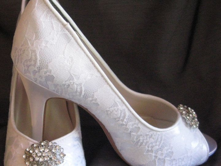 Tmx 1452306783958 Lace Wedding Shoe With Vintage Style Oval Brooch Palm Harbor wedding dress