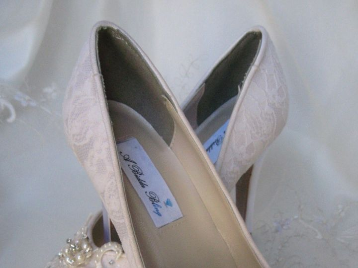 Tmx 1452306795356 Peep Toe Wedding Shoe With Lace And Pearls Palm Harbor wedding dress