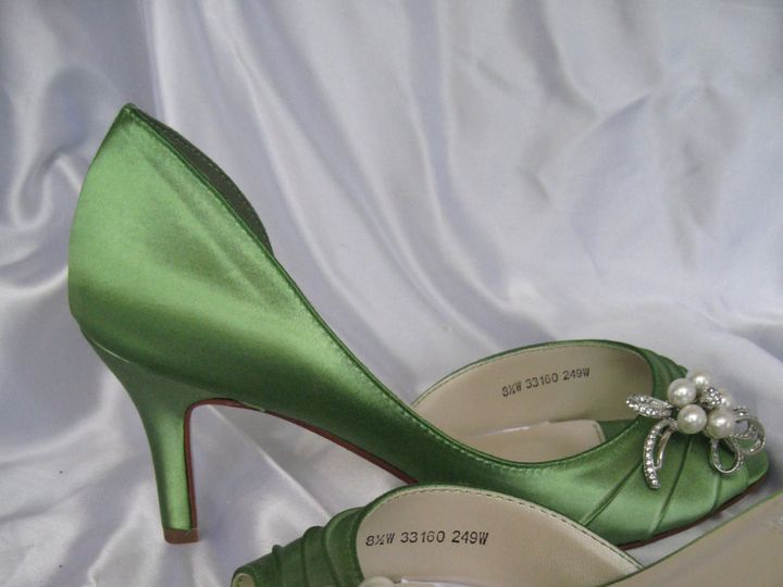 Tmx 1452306854299 Green Wedding Shoes With Pearl And Crystal Bow Palm Harbor wedding dress