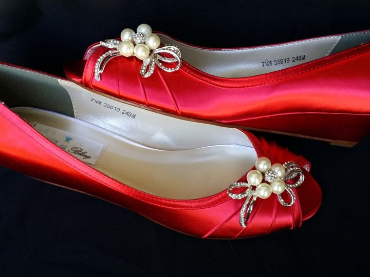Tmx 1452307353167 Red Wedge Wedding Shoes With Side Pearls Bow Palm Harbor wedding dress