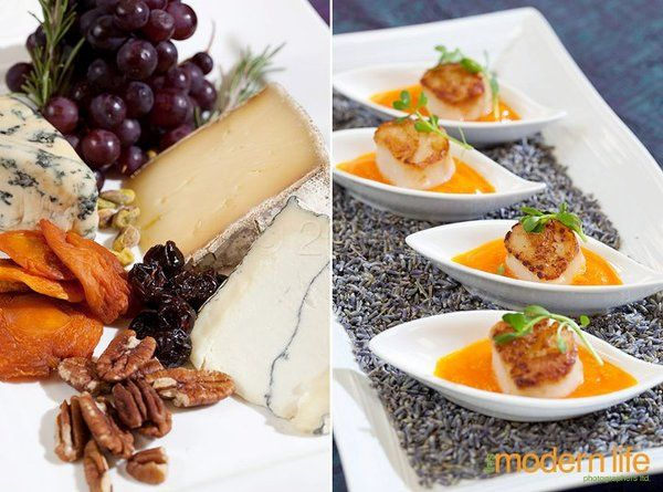 """L: gourmet cheese and fruit platter R: """"peas and carrots"""" seared scallops (pea shoots, carrot..."""