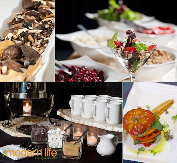 TL: dried mushrooms TR: shaker salad martini station BL: coffee station BR: caprese heirloom...