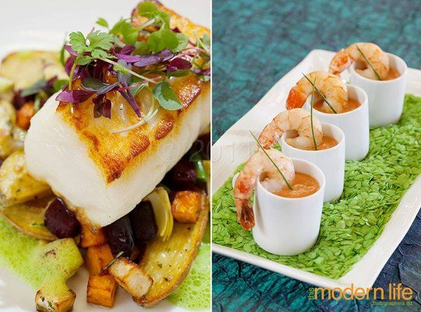 L: seabass and fall roasted vegetables R: saffron poached shrimp, creamy tomato bisque