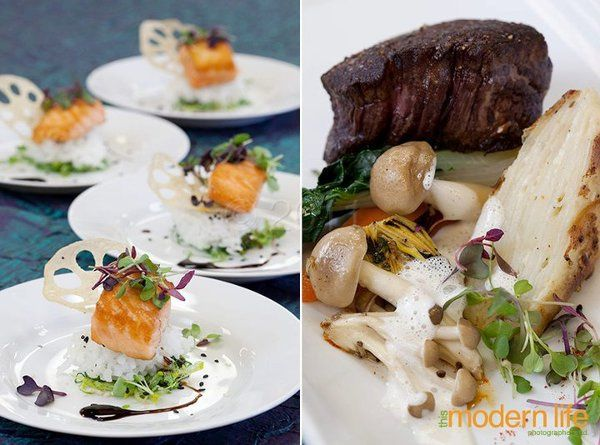 L: ponzu glazed salmon, sticky rice, lotus root chip R: grilled filet mignon, foraged mushrooms,...
