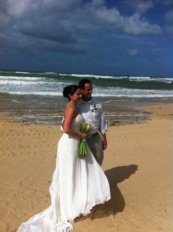 While this bride and groom had their wedding in a gazebo off of the beach they were able to have...
