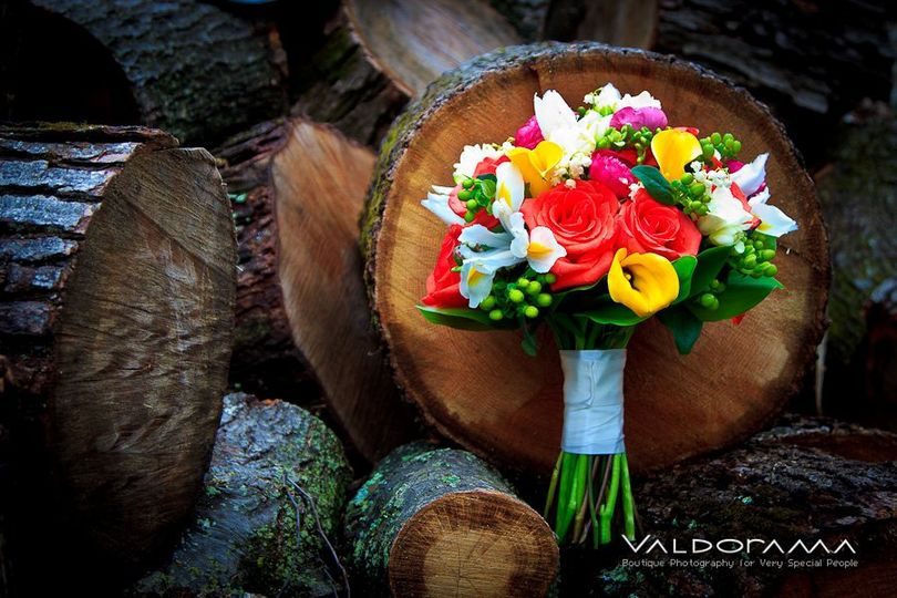 CT spring wedding bouquet in coral, yellow, green, fucshia, and white with roses, calla lilies, lily...
