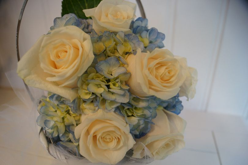 Blue Hydrangeas with White Roses hand-tied BM Bouquet