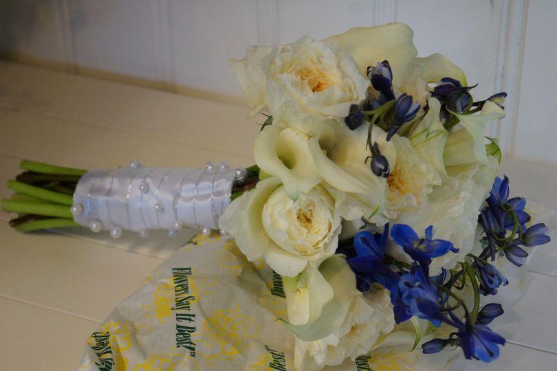 Hand-Tied Bride's Bouquet, White Mini Calla lilies, White Garden Roses, with Blue Delphinium