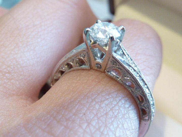 Some of the beautiful work on the profile of this beautiful ring.