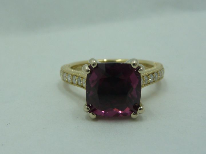 Garnet and pave engagement ring