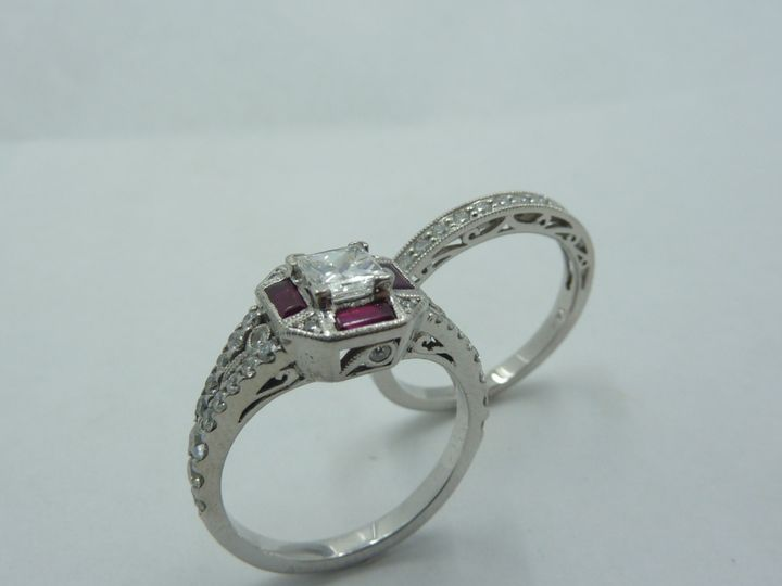 Antique reproduction wedding set with Rubies and Diamonds!