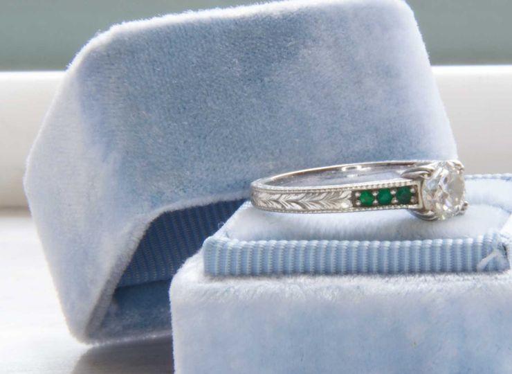 Hand engraved custom engagement ring