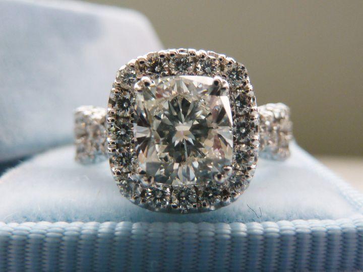 2 carat Cushion cut halo engagement ring