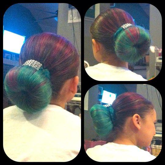 Colorful wedding bun