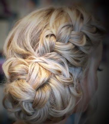 updo blonde braid