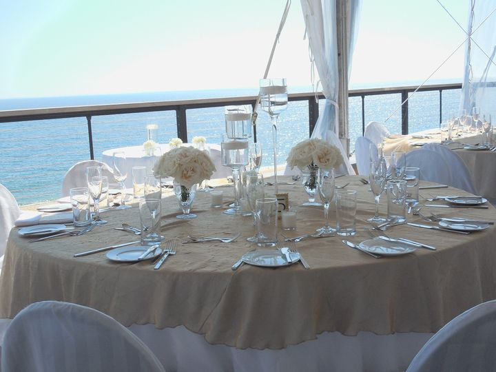White wedding table setup