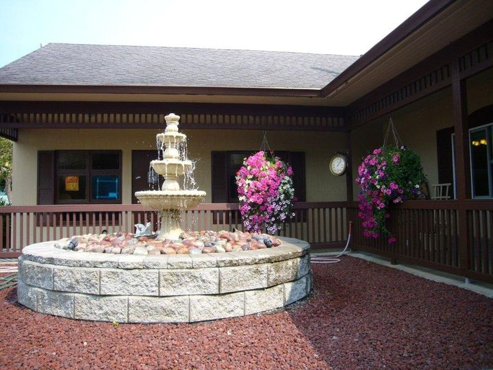 Our beautiful, year round fountain leads into our wedding chapel. Event Rentals, Planning &...