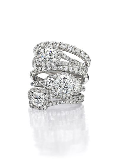 Crystal rings with diamonds on top