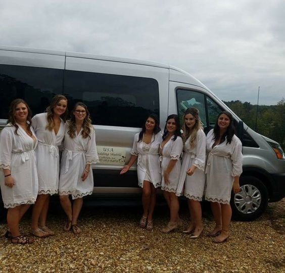 Beautiful Bride and her Bridesmaids on The USA Wedding Shuttle