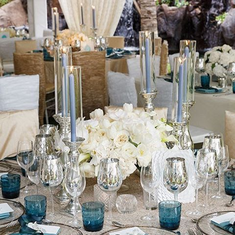 Floral centerpiece and glassware