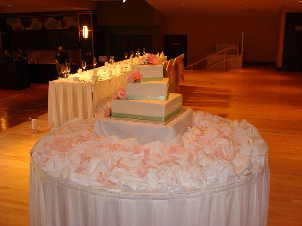 Cake table on the stage next to the head table