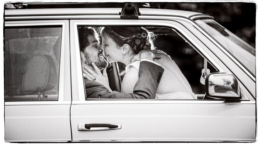 Bride & Groom in Vintage Car
