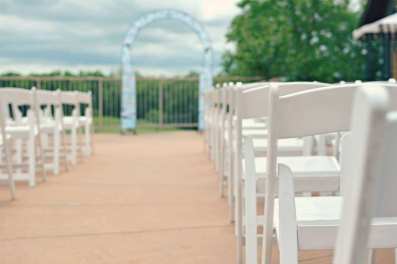 Outdoor white wood chairs
