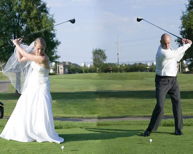 Bride and groom golfers