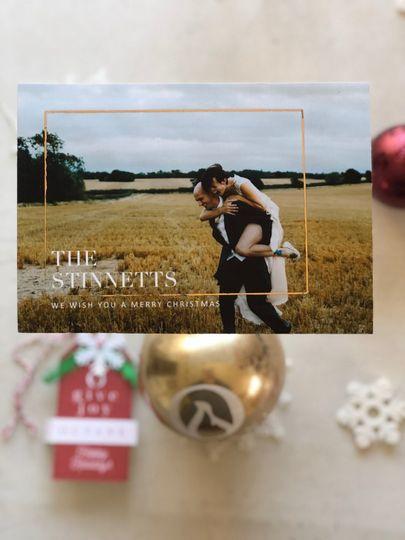 Newlywed holiday photo card